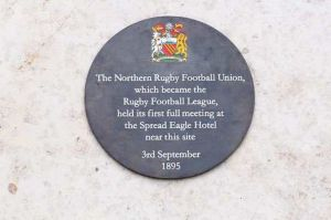 Plaque in Manchester city centre commemorating the first meeting of the Northern Rugby Football Union in Manchester in 1895.