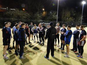Coach Mark Brennan talks through tactics one final time ahead of kick off v Manchester Rangers.